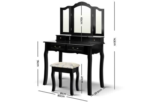 Artiss Dressing Table with Mirror (Black)