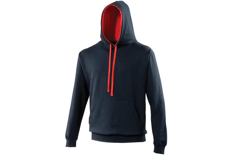 Awdis Varsity Hooded Sweatshirt / Hoodie (New French Navy/Fire Red) (S)