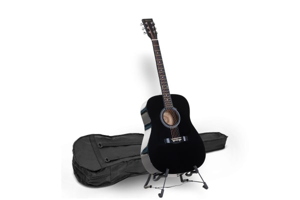 Karrera 41in Acoustic Wooden Guitar with Bag - Black