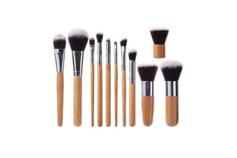 TODO 11 Piece Professional Makeup Brush Set Synthetic Fiber Bamboo Handle
