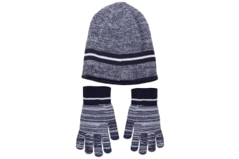 Mens Hat And Gloves Set (Navy) (One Size)