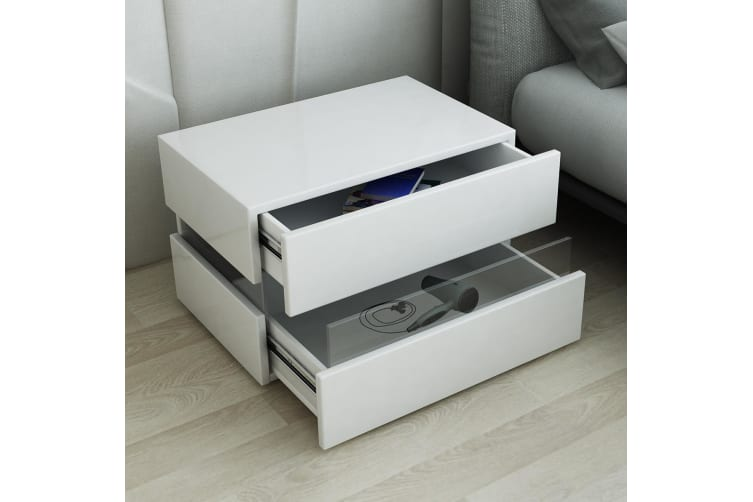 Bedside Table 2-Drawer Side Nightstand High Gloss Modern Bedroom Cabinet - White