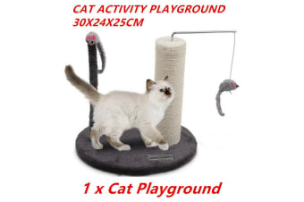 Cat Scratcher Post Activity Playground Sisal Rope Scratching Pet Toy Kitten Tree