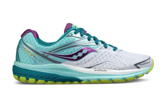 Saucony Women's Ride 9 Wide Running Shoe (White/Teal/Purple, Size 6)