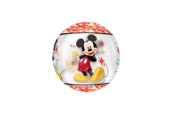 Mickey Mouse Clear Supershape Orbz Balloon (Red/Black/Yellow) (One Size)