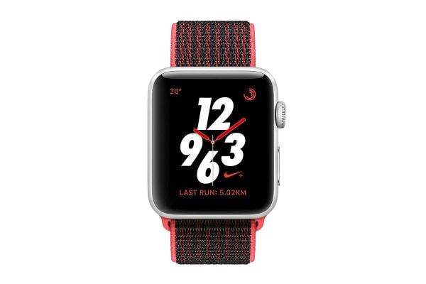 Apple Watch Series 3 (Silver, 38mm, Bright Crimson/Black Nike Sport Loop, GPS Only)
