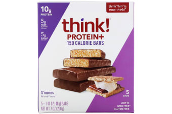 ThinkThin, Protein+ 150 Calorie Bars, S'Mores, 5 Bars, 1.41 oz (40 g) Each