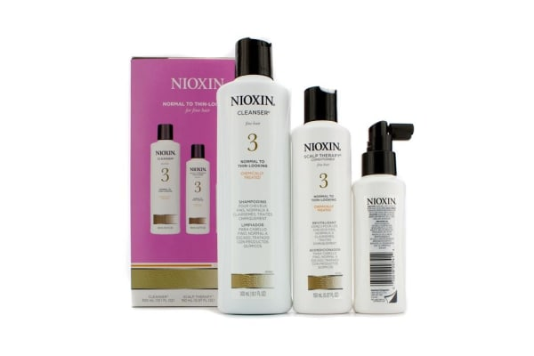 Nioxin System 3 System Kit For Fine Hair, Chemically Treated, Normal to Thin-Looking Hair: Cleanser 300ml + Scalp Therapy Conditioner 150ml + Scalp Treatment 100ml (3pcs)