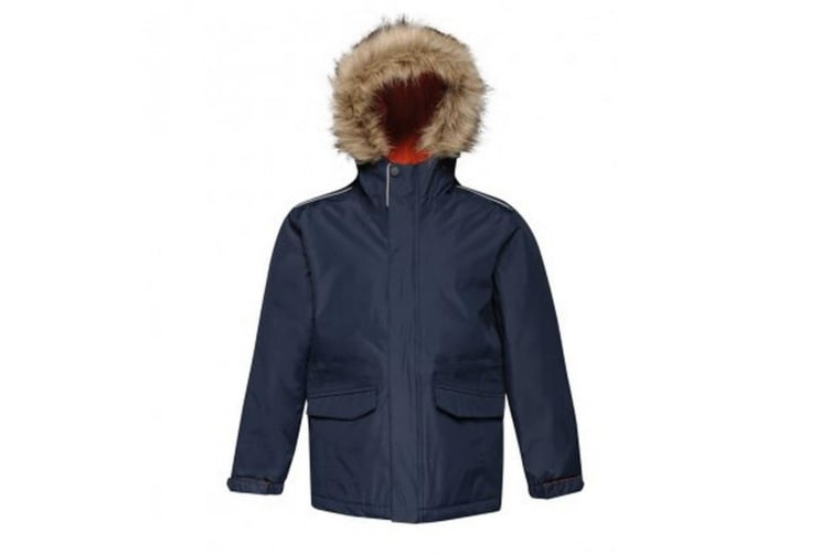 Regatta Kids Cadet Insulated Parka Jacket (Navy/Magma Orange) (11-12 Years)