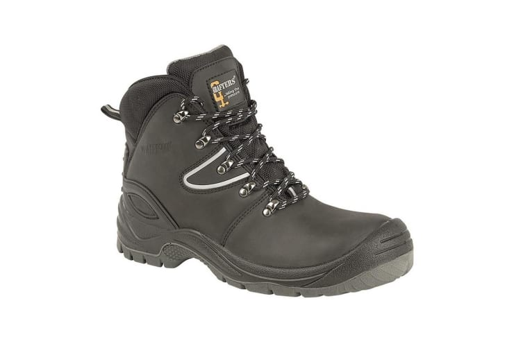 Grafters Mens Action Coated Leather Laced Hiking Boot (Black) (7 UK)
