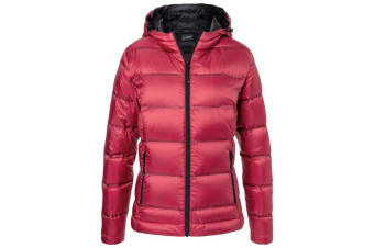 James and Nicholson Womens/Ladies Hooded Down Jacket (Red/Black) (XS)
