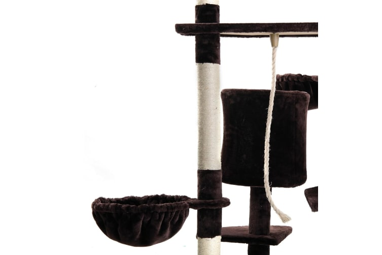 Multi-level Cat Tree Exercise House - Brown