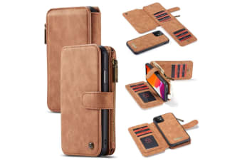For iPhone 11 Case  Wallet PU Leather Detachable Flip Cover  Brown