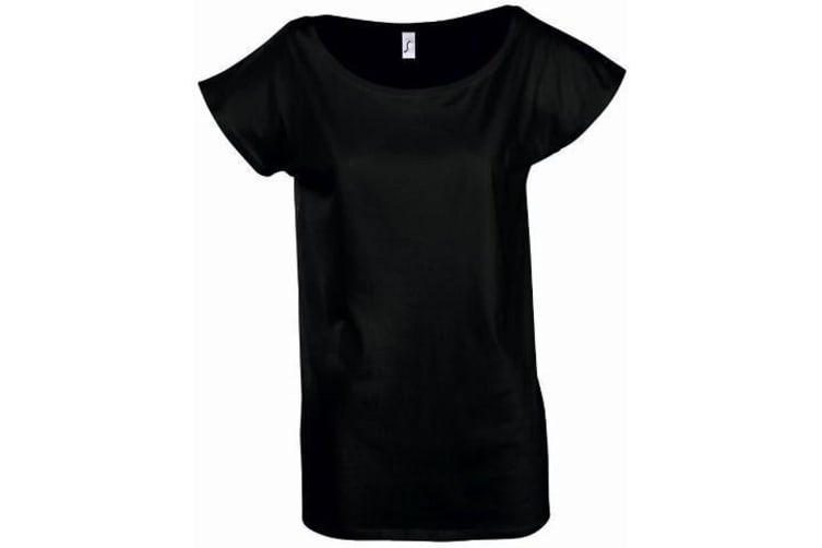 SOLS Womens/Ladies Marylin Long Length T-Shirt (Deep Black) (L)