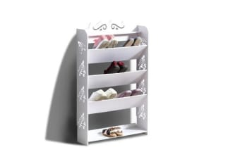 15 Pairs 5 Tiers Tilt White Hollow Shoe Rack