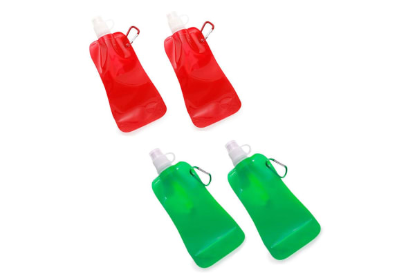 4x Doozie 450ml Collapsible Camping Water Drink Bottle Gym Sport Kids Red Green