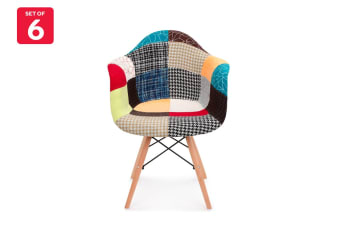Shangri-La Set of 6 Eiffel DAW Fabric Dining Armchairs - Eames Replica (Multicoloured)