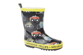 Stormwells Childrens/Kids Monster Trucks Wellington Boots (Black/Yellow Trim)