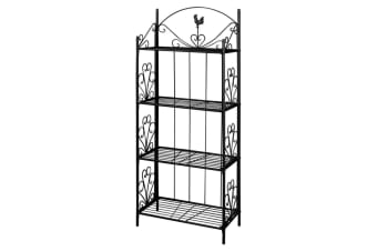 vidaXL Plant Rack Square Black