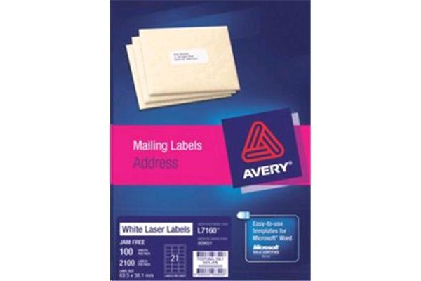 AVERY LABEL CLEAR L7560-25 PK 63.5X38.1MM