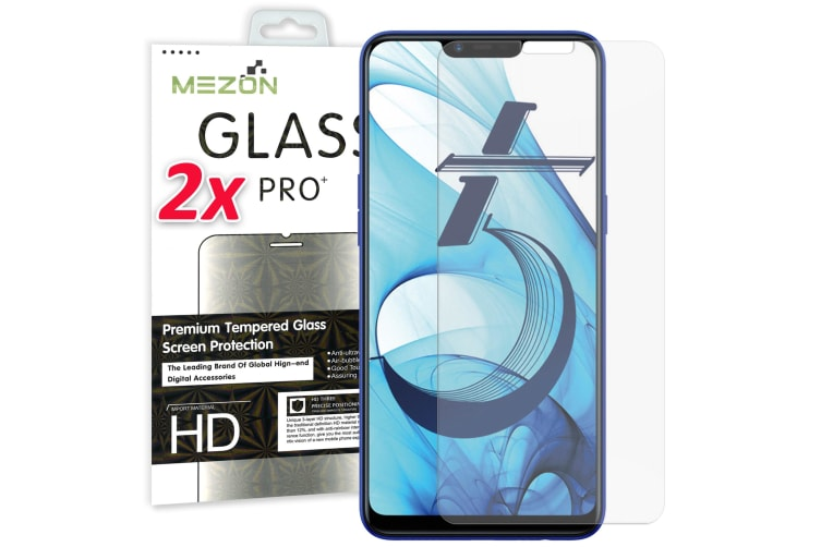 [2 Pack] OPPO AX5 Tempered Glass 9H HD Crystal Clear Premium Screen Protector by MEZON – Case Friendly, Shock Absorption (AX5, 9H)