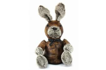 Faux Leather Rabbit Doorstop (Brown/Grey)