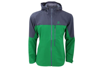 Salomon Mens La Cote Hooded Waterproof Jacket (Fern Green/Blue Grey) (L)