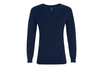 SOLS Womens/Ladies Glory V Neck Sweater (French Navy)