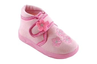 Girls Floral Patterned Slippers With Touch Fastening Strap (Baby Pink)