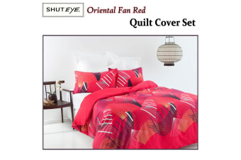 Oriental Fan Red Quilt Cover Set DOUBLE by Shuteye