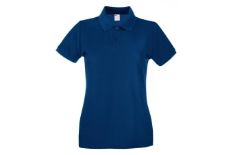 Womens/Ladies Fitted Short Sleeve Casual Polo Shirt (Navy Blue)