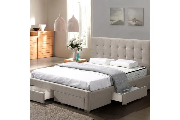 Fabric Upholstered Bed Frame with Drawers King Beige