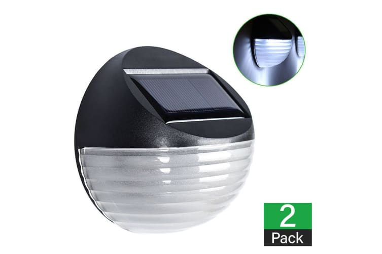 2 X Fence Lights Round Solar Powered LED Waterproof Outdoor Garden Wall Pathway