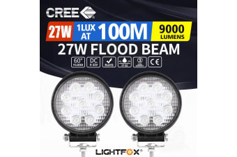 LIGHTFOX 2x 4inch Cree LED Work Lights Spot Flood Combo Round Fog Lamp Reverse Offroad 4WD