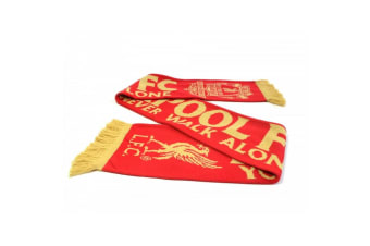 Liverpool FC Unisex Jacquard Knitted Scarf (Gold/Red)