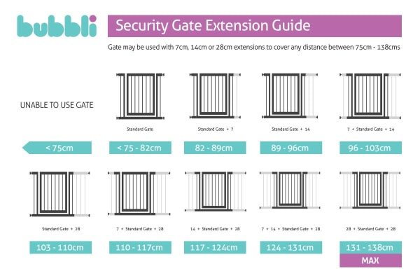 2 Pack Bubbli Swing Back Security Gate 7cm Extensions (74cm Tall)