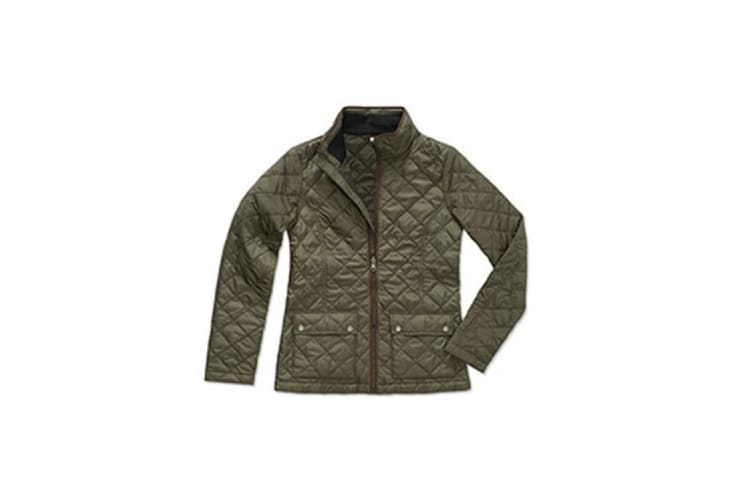 Stedman Womens/Ladies Active Quilted Jacket (Military Green) (XL)