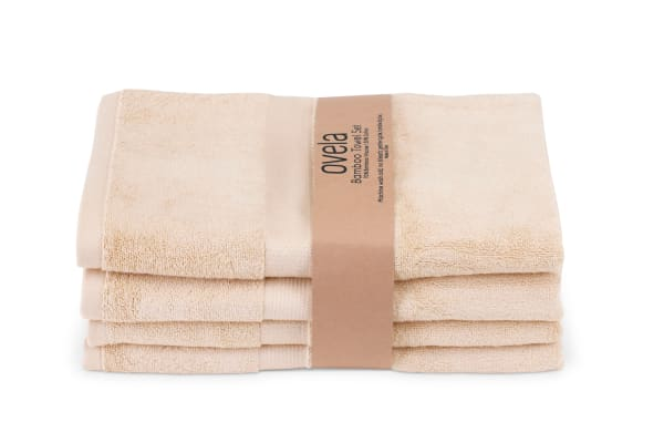 Ovela Set of 4 Bamboo Cotton Luxury Bath Sheets (Beige)