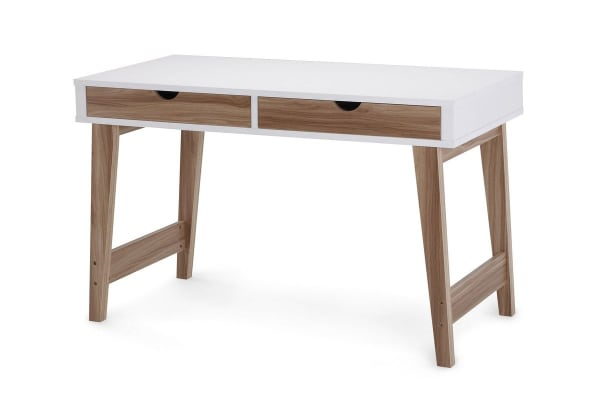Ovela 2 Drawer Desk - Finse Collection (White & Dark Birch)
