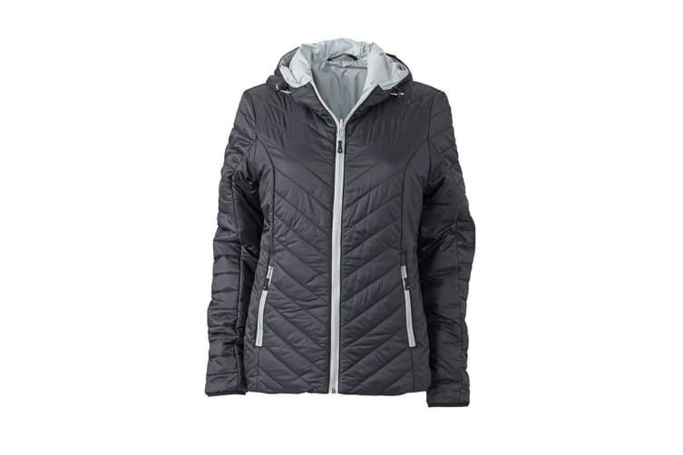 James and Nicholson Womens/Ladies Light Weight Jacket (Black/Silver) (S)
