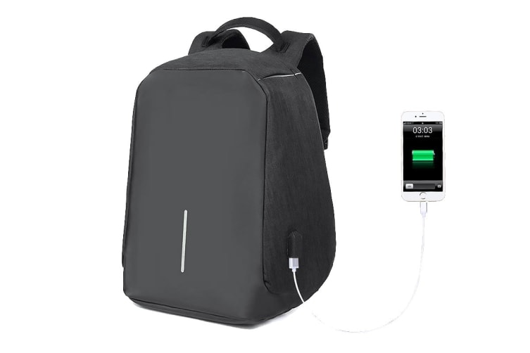 Lenoxx Anti-Theft Backpack with USB Charging Port - Black