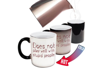 123T Funny Colour Changing Mugs - Does Not Play Well With Stupid