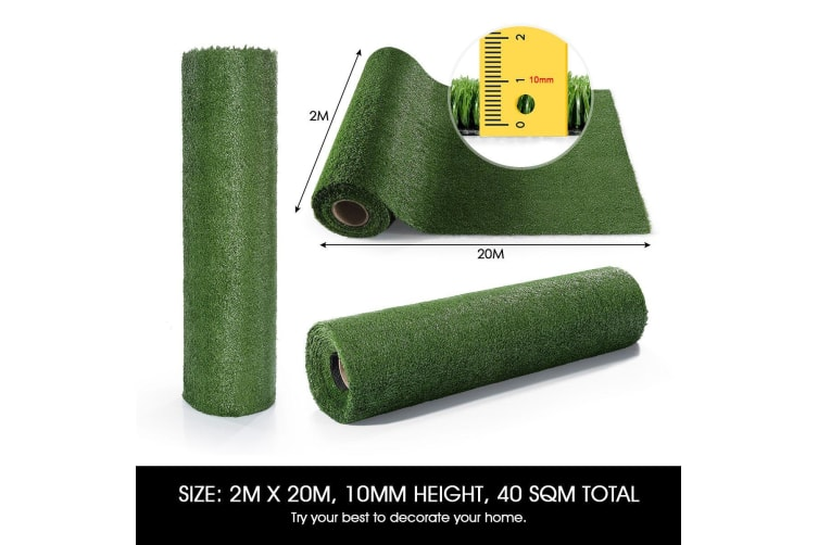 Edengrass 10mm Artificial Grass Fake Lawn 2Mx20M