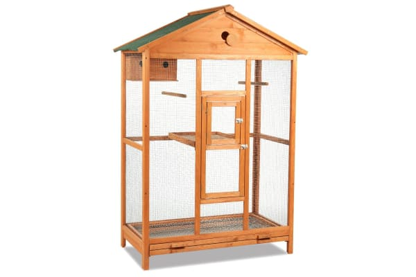 Large Wooden Dual Level Bird Parrots Cage