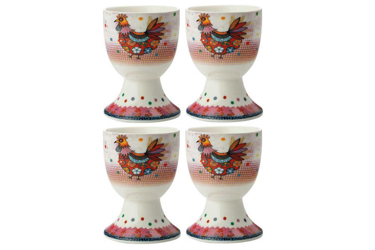 4pc Maxwell & Williams Smile Style Egg Cup Holder Hard Boiled Stand Set Peggie