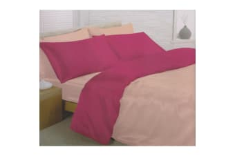Charisma Satin Reversible Bedding Set (Duvet Cover  Fitted Sheet & Pillowcases) (Pink/Cerise) (Double)