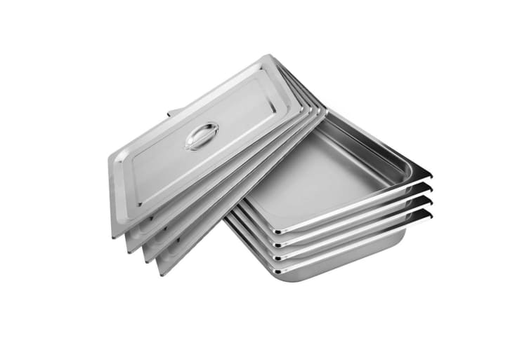 SOGA 4X Gastronorm GN Pan Full Size 1/1 GN Pan 10cm Deep Stainless Steel Tray With Lid