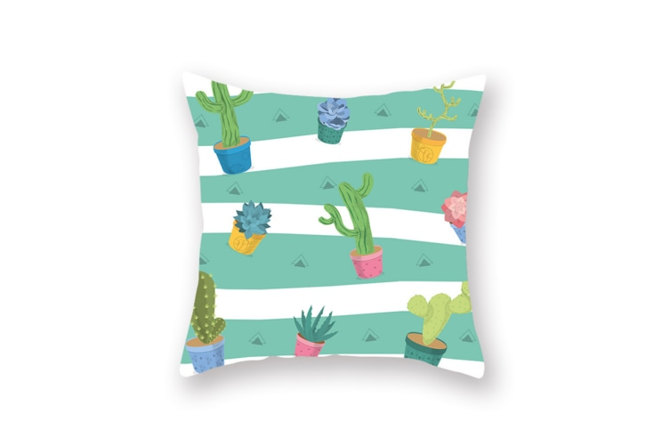 Mint green plant pillow sleeve digital printing office cushion pillow sleeve  45X45cm