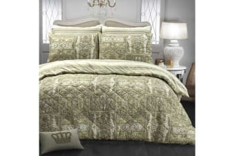 Park Avenue Microfiber Pinsonic Quilted Quilt cover set Super King Calico - Reversible