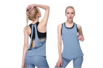 Women Sexy Loose Gym Sport Vest Training Run Yoga Tank Top Blue S